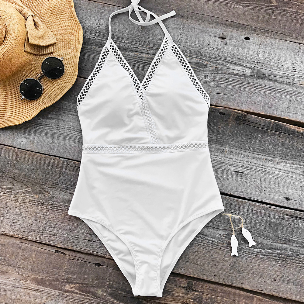 Cupshe Angel's Wings Halter One-piece Swimsuit Summer Sexy High-waisted Bikini Set Ladies Beach Bathing Suit Swimwear with Knot japanese maid sukumizu school swimsuit one piece women swimwear slimming padding bikini halter shoulder belt bathing suit bell
