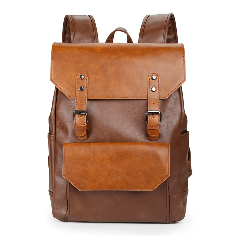Men Trendy Crazy-horse Leather Backpack Travel Bags Male College School Laptop Bags Rucksack Mochila Masculina