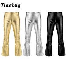 TiaoBug взрослых блестящие металлические мужские ретро брюки в стиле диско длинные расклешенные брюки Клубные вечерние фестивальный рейв сценический бальный джазовый танцевальный костюм