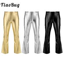 TiaoBug блестящий металлик для взрослых, мужские ретро брюки в стиле диско, длинные расклешенные брюки, Клубные вечерние фестивальный Рейв, сценический костюм для бальных танцев, джаз