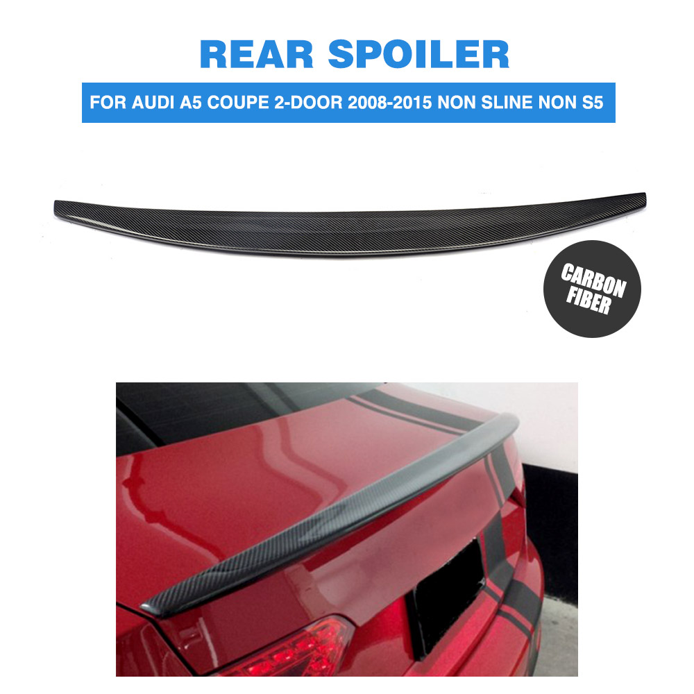 все цены на Carbon Fiber Rear Boot Spoiler Wing for Audi A5 Coupe 2-Door 2008-2015 Non sline Non S5 Trunk Trim Spoiler PU Unpainted онлайн