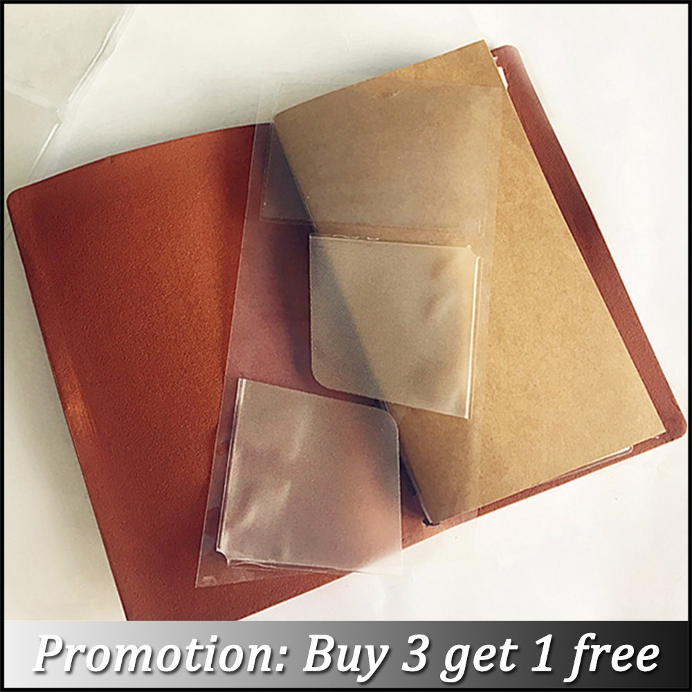 Hot Sale PVC Pocket Stickers Card Holder For Genuine Leather Notebook Cowhide Diary Spiral Multifuntional Receive Storage