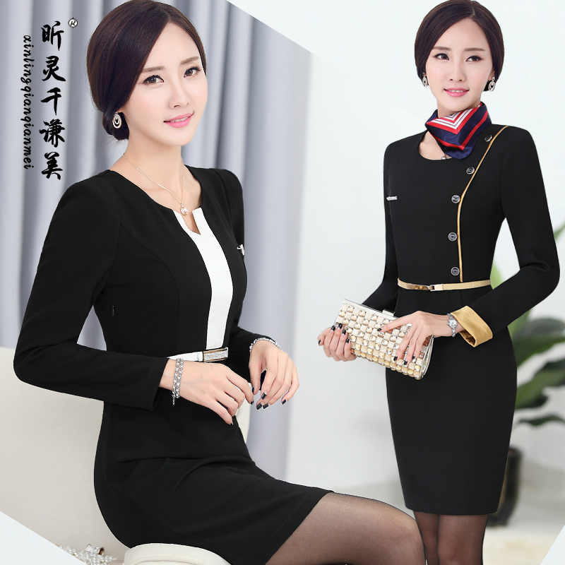 Autumn Winter Clothing Hotel Cashier Airline Stewardess Beautician Slim Skirt Occupation Long Sleeves With Scraf Belt suit J163