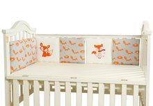 6pcs Baby Bed Bumper Cotton Fox Elephant Bedding Set for Newborn Baby Crib Bumper Cot Bumper Protector Back Cushion Baby(China)