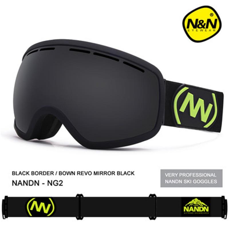 ФОТО Brand NANDN Winter Outdoor Snowboard Ski Goggle Glass Eyewear Spherical Anti-fog Dual Lens Men Lady