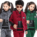 Criança do sexo feminino e masculino camisola de inverno de 3 peça Set Top + colete + calça roupas espessamento