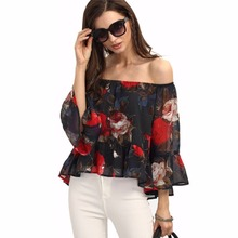 Primavera otoño mujeres blusa femenina femininas camisa de la colmena del hombro peplum boho clothing ropa femme hembra señora túnica superior