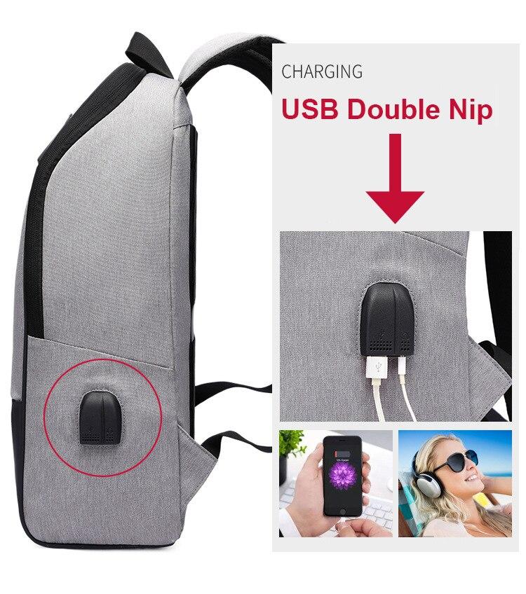 Sac à dos Anti-vol  15.6 Pouce Double USB Grande Capacité