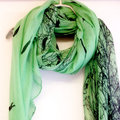Sunset Birds Green scarf Summer Scarf 10pcs/lot free shipping