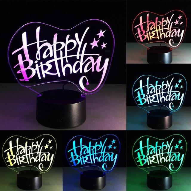 2018 yeni varış 3D illusion Görsel Gece Işık 7 Renk Değişimi LED masa lambası en iyi doğum günü partisi Dekor hediye #0129