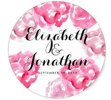 1.5inch Modern Vintage Pink Floral Wedding Custom Favor Classic Round Sticker