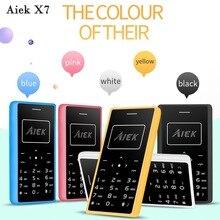 AIEK X7 карты мобильный телефон GSM 2 г 0.96 дюймов ультра тонкий карты мобильного телефона 4.8 мм 8 ГБ поддержка MP3 светодиодный фонарик fm-сигнал Multi Language
