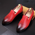 Male pointed toe Casual shoes Fashion Rivets Slip-On Flats Genuine leather Men Loafers Driving shoes 022