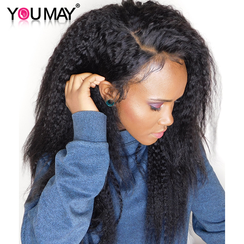 Kinky Straight Wig 360 Lace Frontal Wig Pre Plucked With Baby Hair 180 Brazilian Lace Front