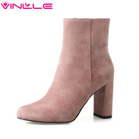 VINLLE 2018 Women Boots Elegant Sexy Ankle Boot Square High Heel Kid Suede Pointed Toe Black Ladies Motorcycle Shoes Size 34-39