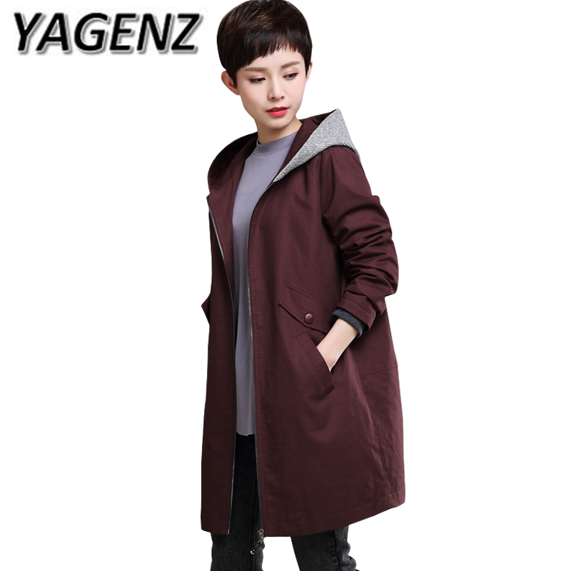 2017 Autumn Middle-aged Women   Trench   Coat Plue size 4XL 5XL Loose Medium long Hooded Women Cotton Coat Casual Female Windbreaker