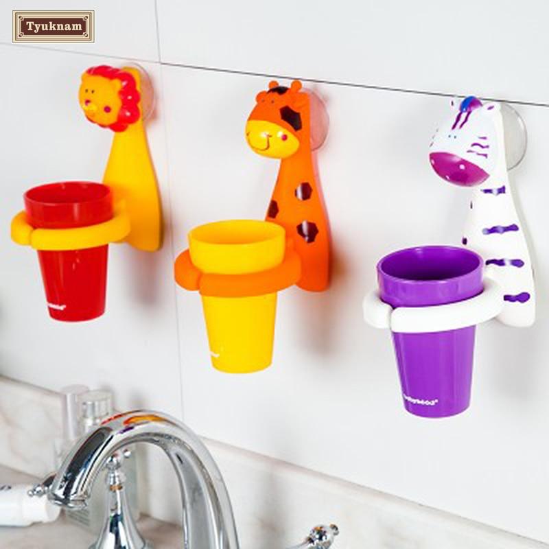 Cute Cartoon Animal Sucker Gargle Toothbrush Cup Wall Mounted Suction Toothbrush Sucker Holder Rack Bathroom Washing Set Kids
