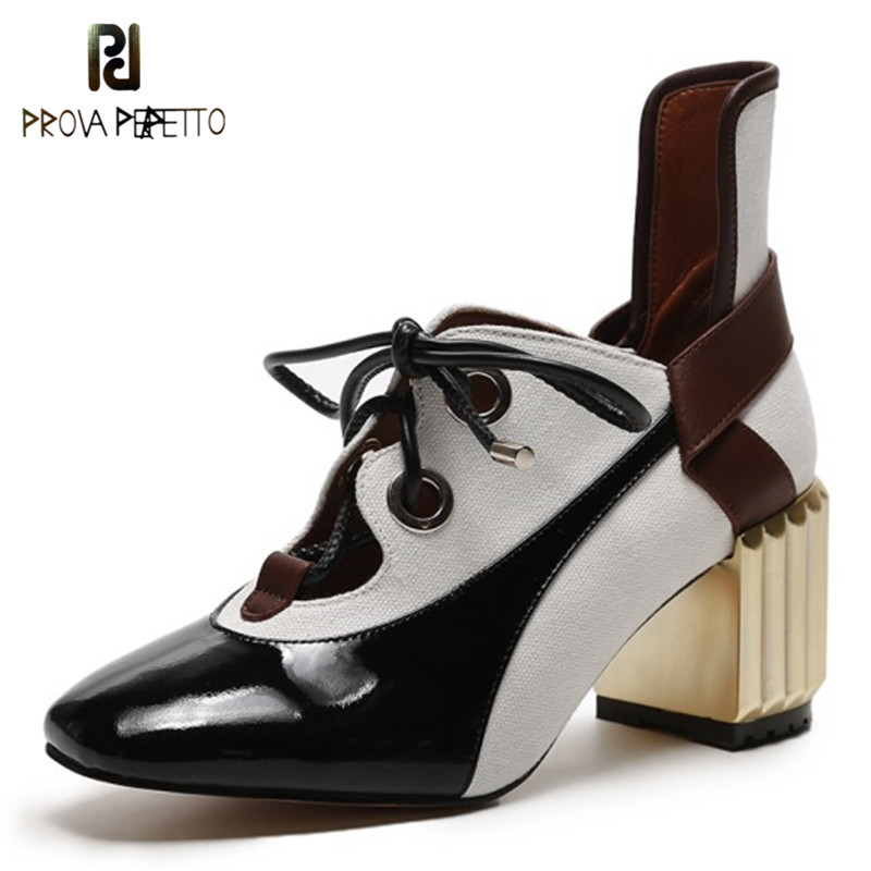 Prova Perfetto Fashion Spell Color Pumps Shoe Laces High Heels Single Shoes Woman Square Toe Lace-up Zapatos Mujer Tacon ShoesProva Perfetto Fashion Spell Color Pumps Shoe Laces High Heels Single Shoes Woman Square Toe Lace-up Zapatos Mujer Tacon Shoes