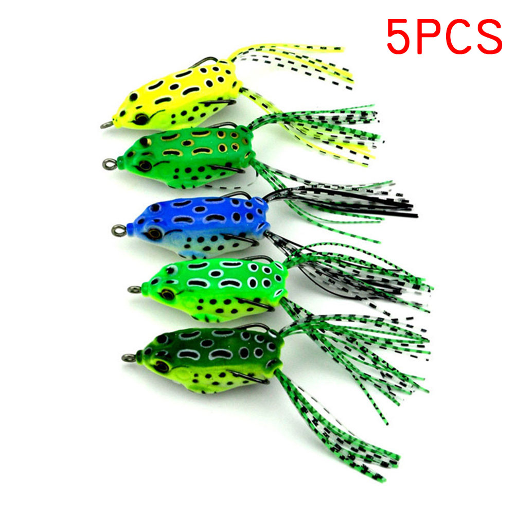 5 Pcs 5.5cm Soft Tube Bait Frog Topwater Fishing Lure Crankbait Hooks Bass Artificial Tackles ALS88