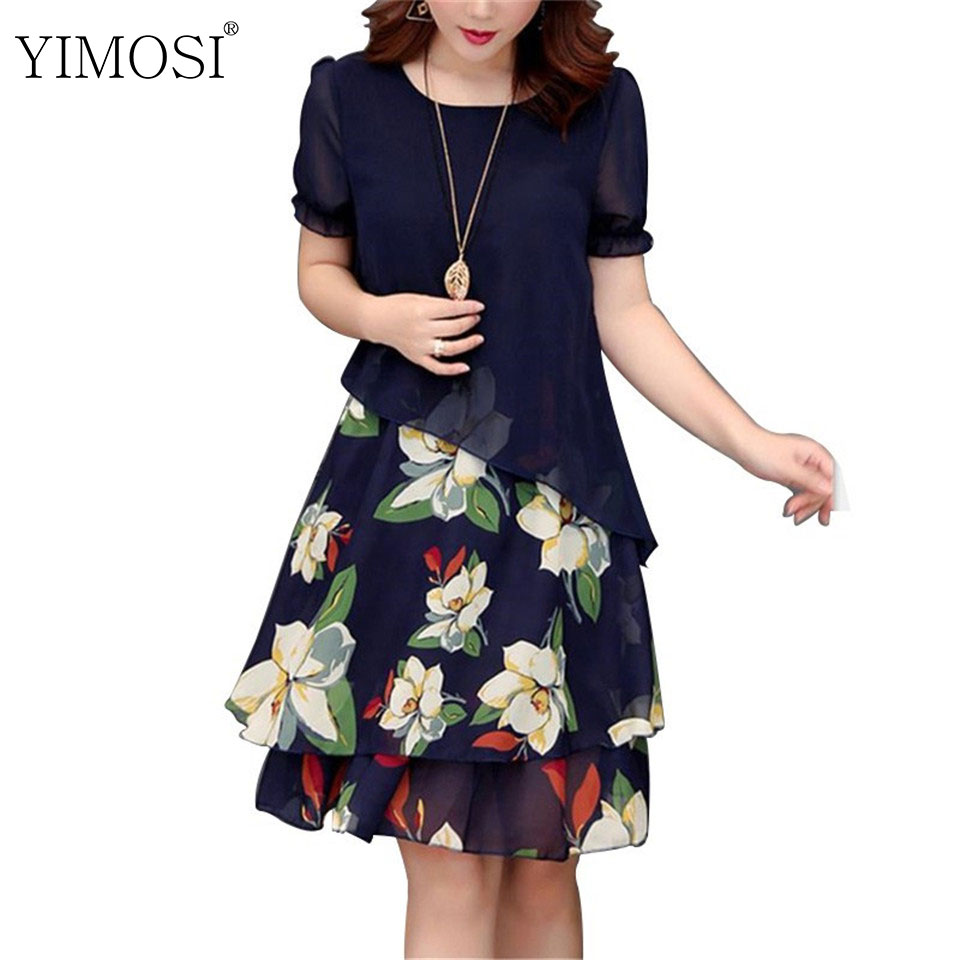 Summer Chiffon Dress 2019 Casual Short Sleeve O-Neck Floral Print Dresses Elegant Party Dress Plus Size Dress 5XL Women Clothing(China)