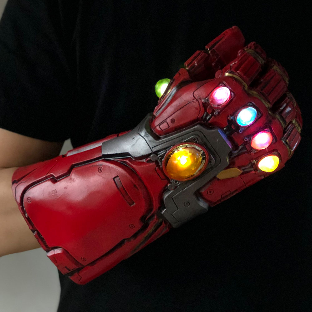 Led Light Iron Man Infinity Gauntlet Avengers Endgame Cosplay Arm Thanos Gauntlet Latex Gloves Arms Superhero Weapon Props New2