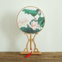 Classic Chinese Fan Culture Printed Handmade Fan Photo Decoration Dance Summer Round Hand Fan Fashion Ornament Wedding Gifts