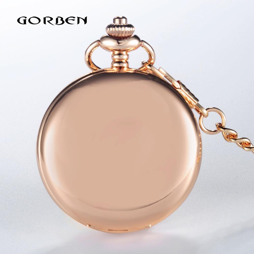 GORBEN New Luxury Full Stainless Steel Rose Gold Polishing Pocket Watch Women Retro Roman Number Dial Waist Chain For Men Gift