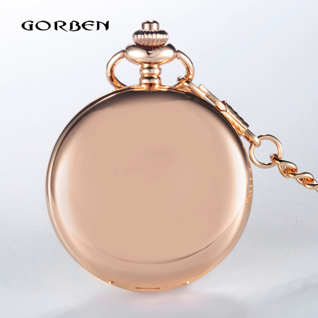 GORBEN New Luxury Full Stainless Steel Rose Gold Polishing Pocket Watch Women Re