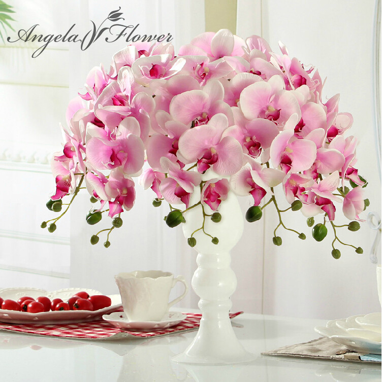 Hi q 11pcs phalaenopsis artificial flower 78cm 7heads silk for Angela florist decoration