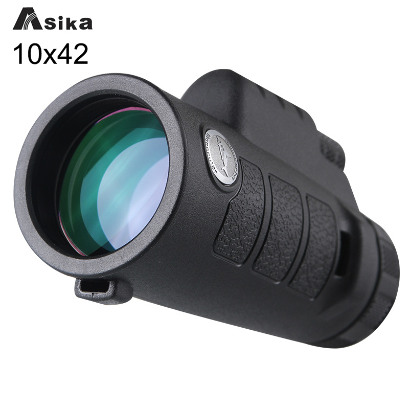 Asika Green Black Telescope Monocular 10x42 With Bak4 Prism Waterproof Monoculars Outdoors for Camping Hunting Goods