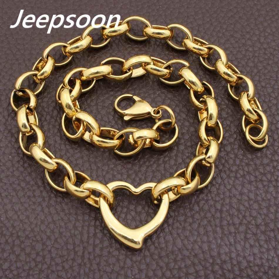 熱い販売のファッションステンレス鋼ジュエリーjoyasハートネックレスチェーン高品質jeepsoon ngegaobg