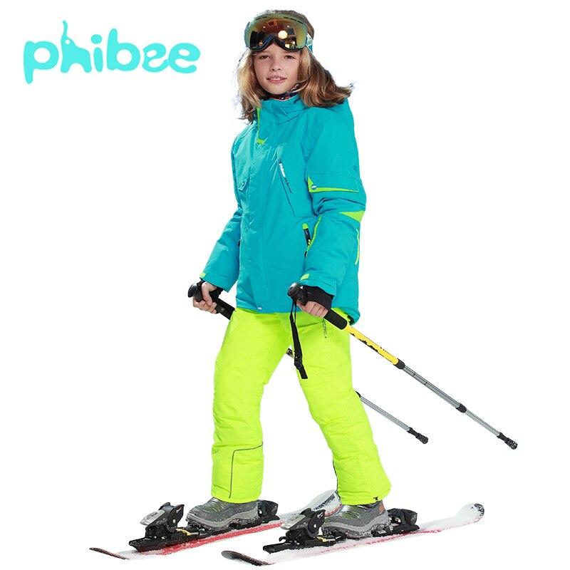 Лыжный костюм Phibee, одежда для маленьких девочек, теплые непромокаемые ветрозащитные комплекты для сноуборда, зимняя куртка, детская одежда,