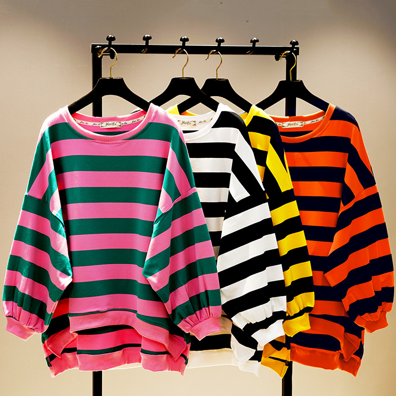 2019 New Spring Fall Women Round Collar Bat Sleeve Stripes Sweatshirt Loose Hoodies Student Female Casual Shirt Tops C876