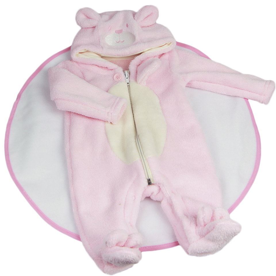 Lovely Pink Plush Baby Girl Doll Clothes Suit 23 inch Reborn Baby Doll Wear Cartoon Bear Rompers Doll Accessories doll accessories pink rabbit pattern sleeping bag pillow doll clothes wear fits 18 american girl doll for baby gift lg74