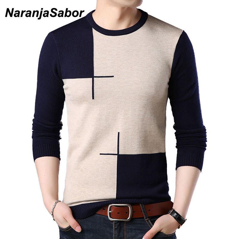 NaranjaSabor 2020 New Men's Sweater Autumn Winter Male Fashion Casual Slim V-neck Wool Pullover Shirt Brand Clothing N536