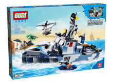 GUDI 8023 City  Naval Forces Warning Boat Offshore Picket Ship Minifigure Building Block Bricks Toys Best Toys