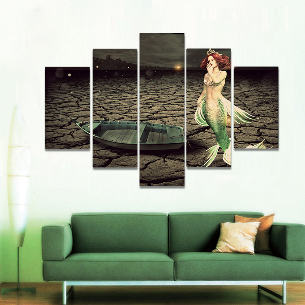 Unframed Canvas Painting Dry Seabed Crack Boat Mermaid Art Picture Prints Wall Picture For Living Room Wall Art Decoration