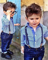 2017 европейский дети комплект одежды Случайные Дети мальчики С Длинным рукавом Полосатой рубашке + джинсы комбинезон 2 шт. джинсовые комбинезоны костюмы DY051A