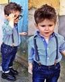 2017 niños que arropan el sistema muchachos Niños Ocasionales europea camisa A Rayas de manga Larga + jeans mono 2 unids overol de mezclilla trajes DY051A