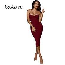 Kakan summer new womens tight dress sexy nightclub sling low-cut red wine black sapphire blue