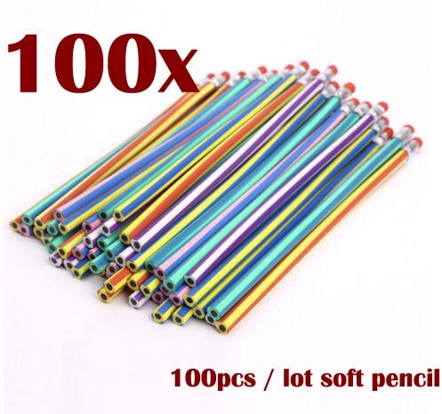 100 pcs 50 pcs 10 pcs Soft Flexible Bendy Pencils Magic Band Kids Children School Fun bend soft pencil student stationery pencil 10 pcs 100