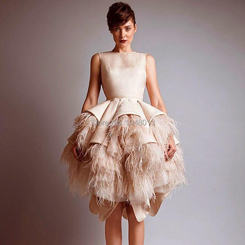 2015 Ball Gown Romantic Feathers Champagne Short Wedding Dresses