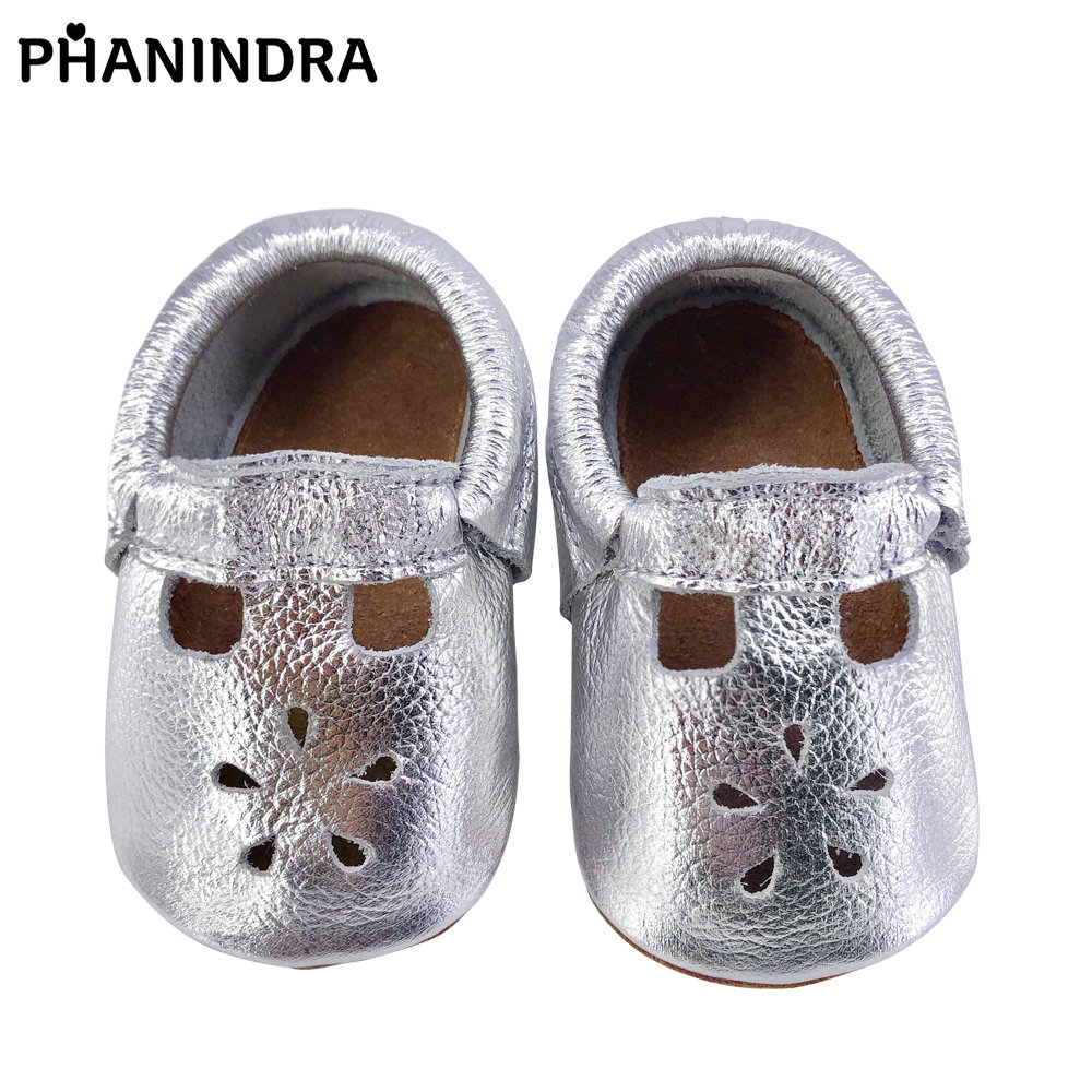 New silver baby moccasins Tassel genuine leather Baby Shoes First Walkers Fashion Rose Gold Shoes