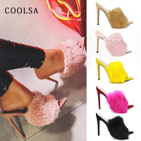 New Summer Women Rabbit Hair Slippers Real Fur Slides High Heel Pointed Fish Mouth Fur Sandals Fashion Outside Woman Sexy Shoes