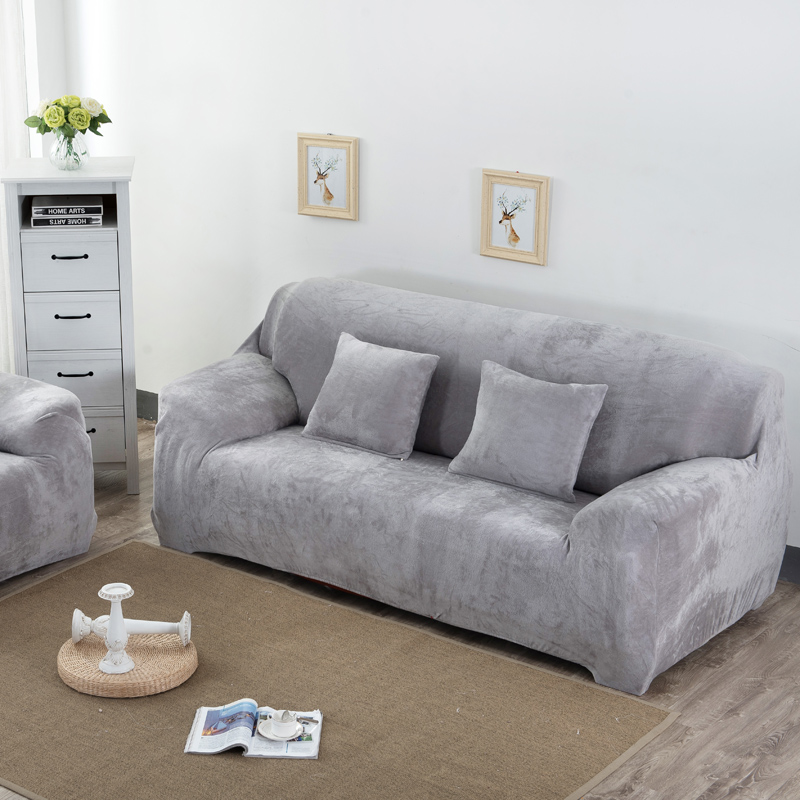 Aliexpress Simpe Solid Sofa Covers Sectional Cases Stretch Elastic Flannel Fabric Couch Cover Single Two Three Four Seats Slipcovers From