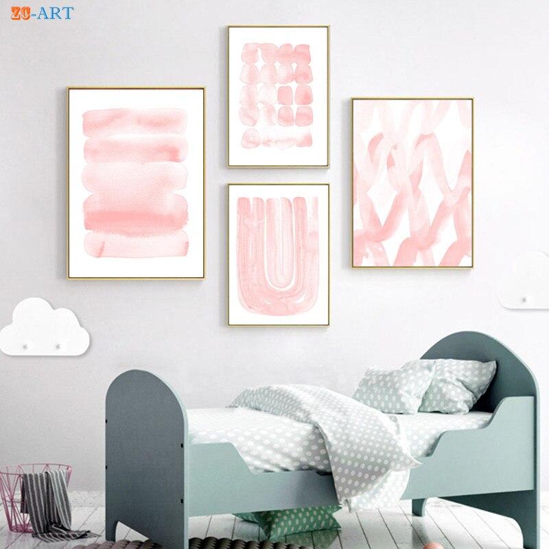 Blush Pink Watercolor Print Abstract Painting Large Poster Modern Minimalist Canvas Painting Wall Art Girls Nursery Room Decor tempat make up gantung