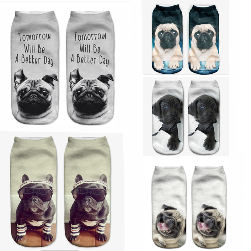 SLMVIAN Black Dog Hole Harajuku 3D Printed Food Women's Socks Calcetines Casual Charactor Socks Unisex Low Cut Ankle Socks