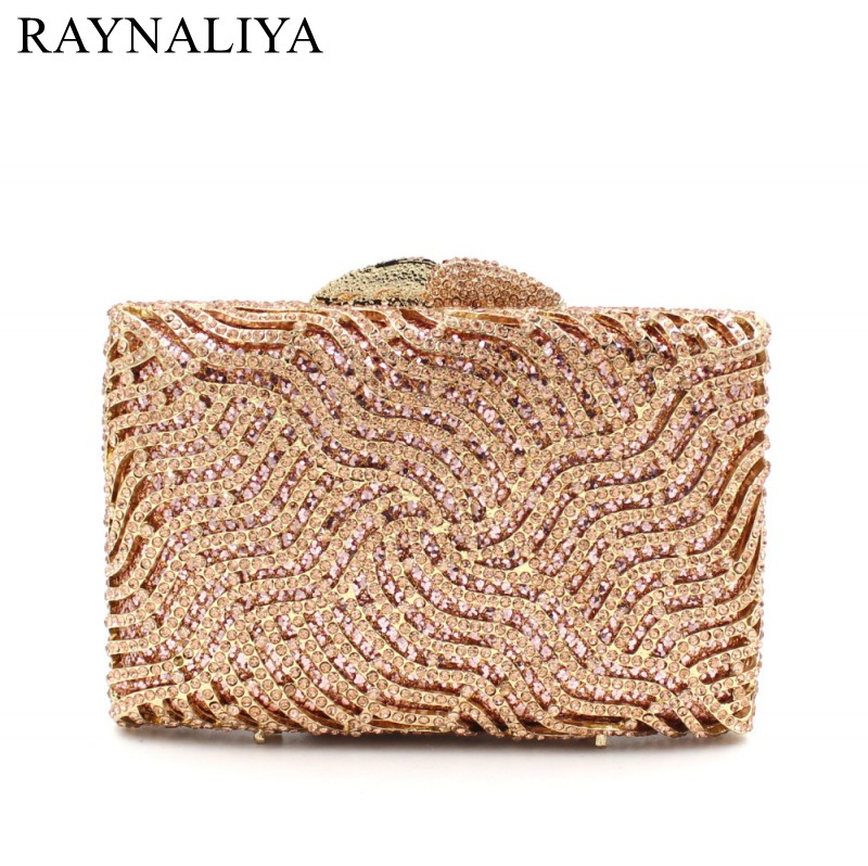 2017 Gold Clutch Bag Women Evening Bag Diamond Rhinestone Clutches Crystal Wallet Wedding Purse Party Banquet SMYZH-E0047
