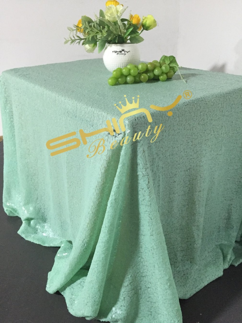 ShinyBeauty Mint Green Sequin Tablecloth For Wedding/Party Best  Decoration 90x156inch Rectangle