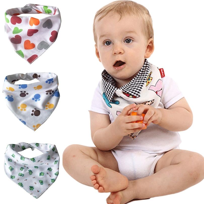 цена на New Bibs & Burp Cloths Cartoon Print Cotton Saliva Towel Bandana Bibs Fashion Infant Waterproof Baby Stuff Triangle Scarf